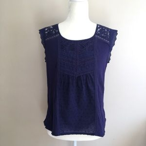 Anthro Meadow Rue Navy Lace / Dot Cap Sleeve Tee